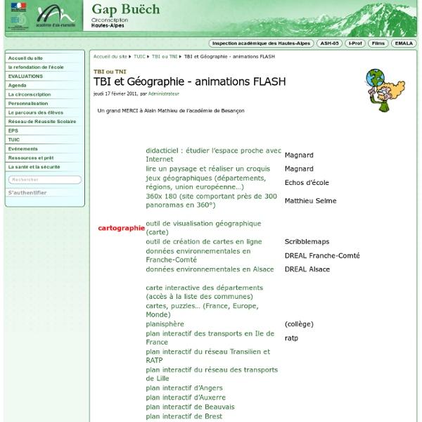 TBI et Géographie - animations FLASH