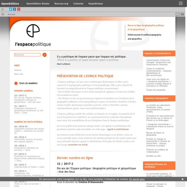 L'Espace Politique - Revue en ligne de géographie politique et de géopolitique