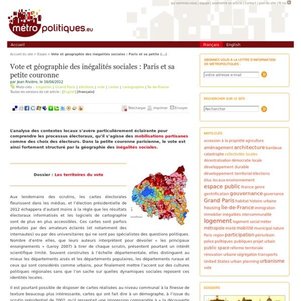 Vote et géographie des inégalités sociales : Paris et sa petite couronne