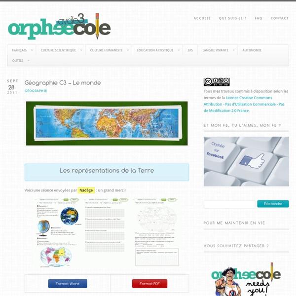 Géographie C3 – Le monde @ Cycle 3 ~ Orphéecole