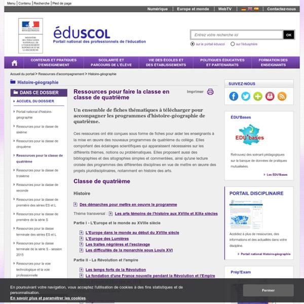 Histoire-géographie-éducation civique-ECJS - Ressources pour la classe de quatrième