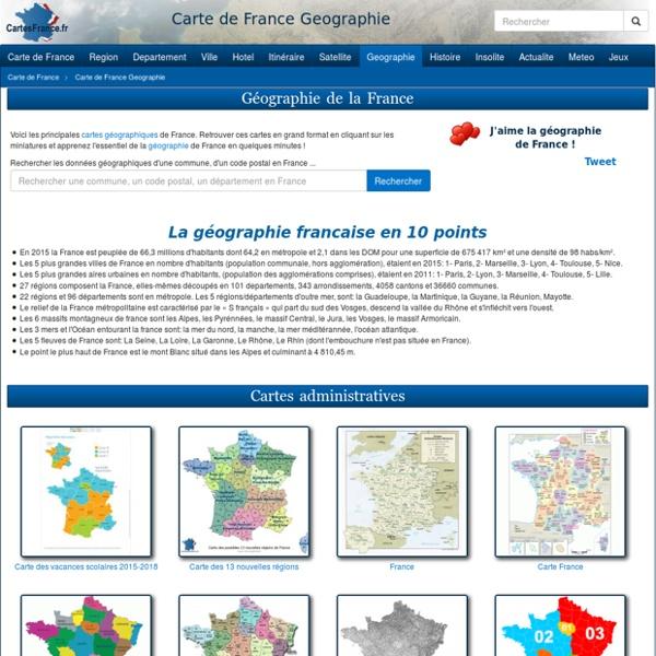 CARTE DE FRANCE GEOGRAPHIE - Géographie CartesFrance.fr