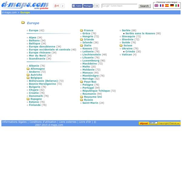 Europe: Cartes géographiques gratuites, cartes géographiques muettes gratuites, cartes vierges gratuites, fonds de cartes gratuits