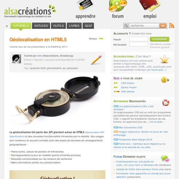 Géolocalisation en HTML5