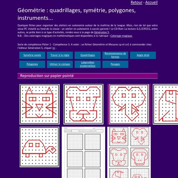 Géométrie, fiches d'exercices GS CP CE1