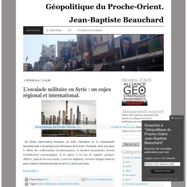 Géopolitique du Proche-Orient. Jean-Baptiste Beauchard