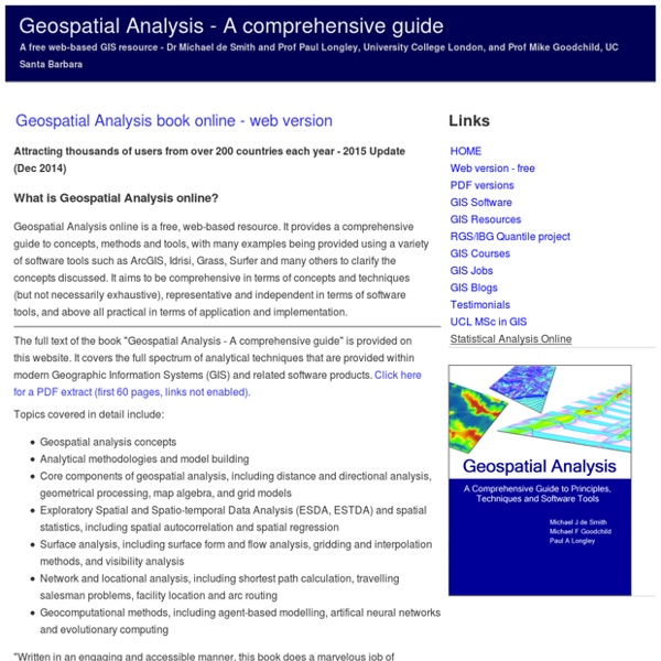 Geospatial Analysis - spatial and GIS analysis techniques and GIS software