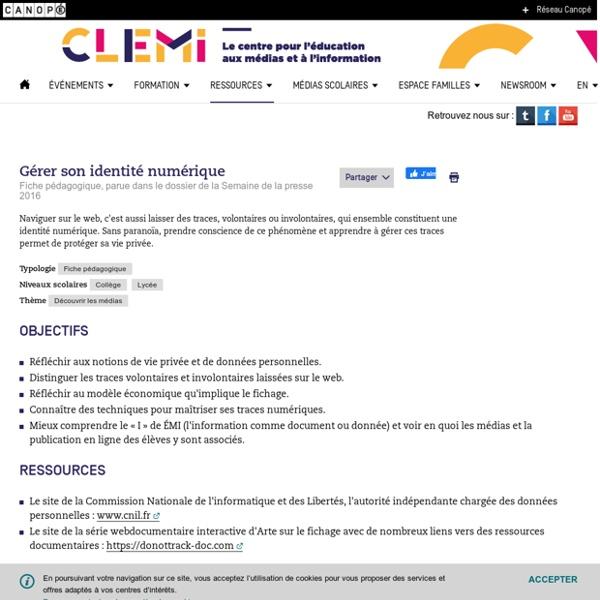 Gérer son identité numérique- CLEMI