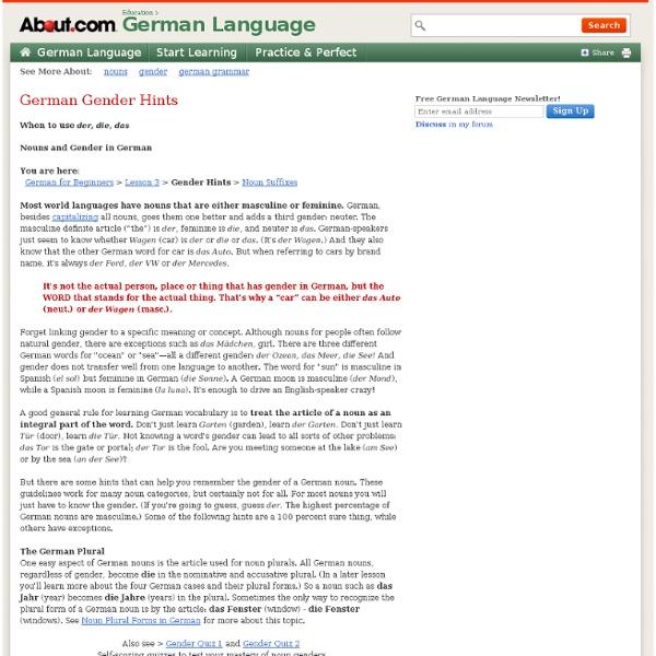 German Gender Hints - Noun Gender in German