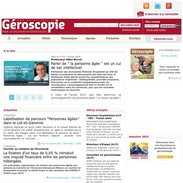 Géroscopie.fr - actualités du secteur médico-social, dossiers, reportages et témoignages de professionnels.