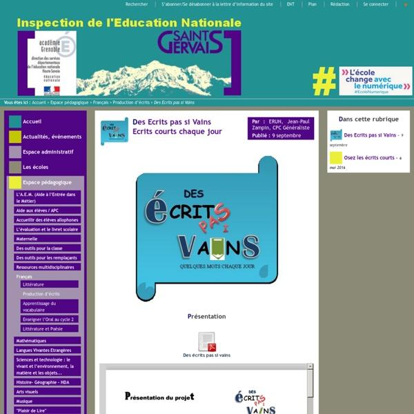 """IEN St Gervais / Pays du Mont-Blanc - Animation pédagogique """"Les écrits courts"""""""