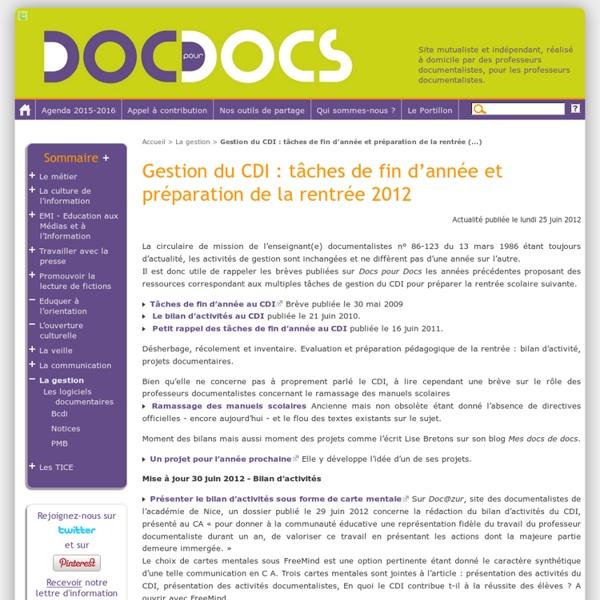Gestion du CDI: tâches de fin d'année et préparation de la rentrée 2012