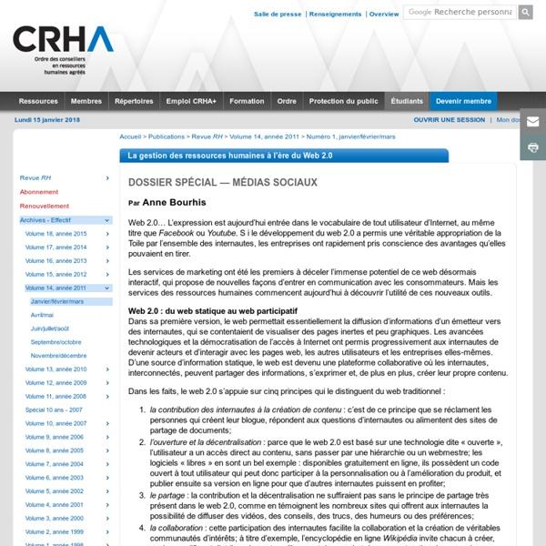 La gestion des ressources humaines à l'ère du Web 2.0 (73645)