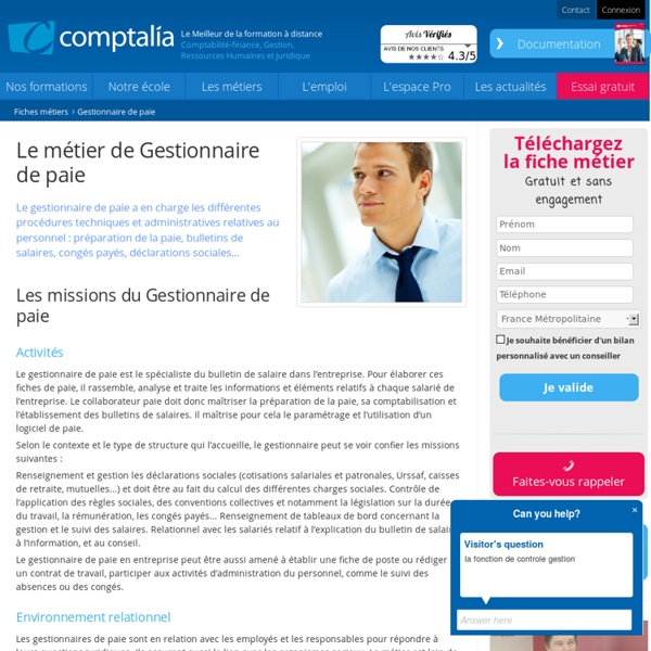 gestionnaire paie poste fonction mission pearltrees