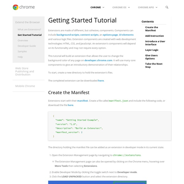 Getting Started: Building a Chrome Extension