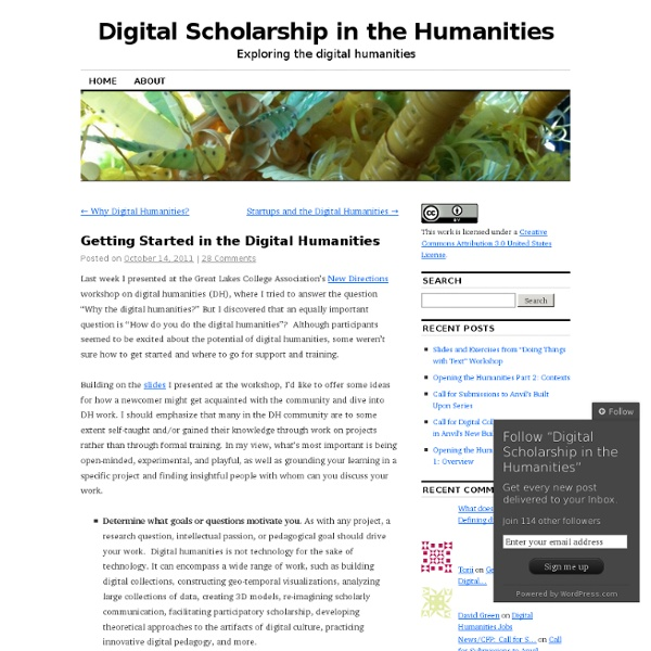 Getting Started in the Digital Humanities