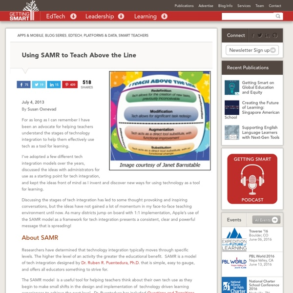 Using SAMR to Teach Above the Line - Getting Smart by Susan Oxnevad - 1:1 program, Apple, edchat, EdTech, SAMR, technology
