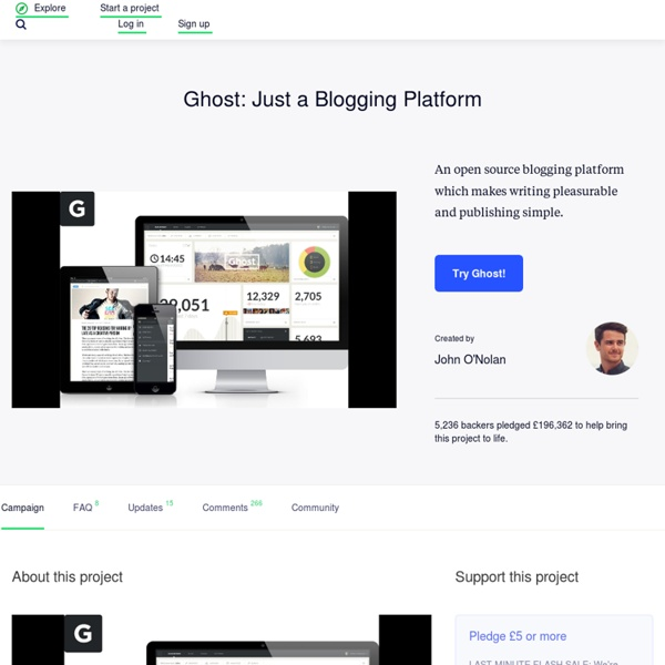 Ghost: Just a Blogging Platform by John O'Nolan