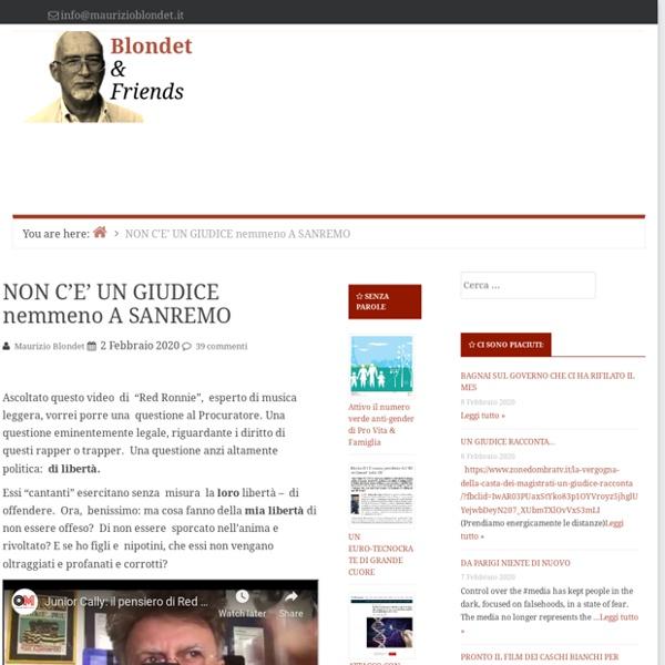NON C'E' UN GIUDICE nemmeno A SANREMO — Blondet & Friends