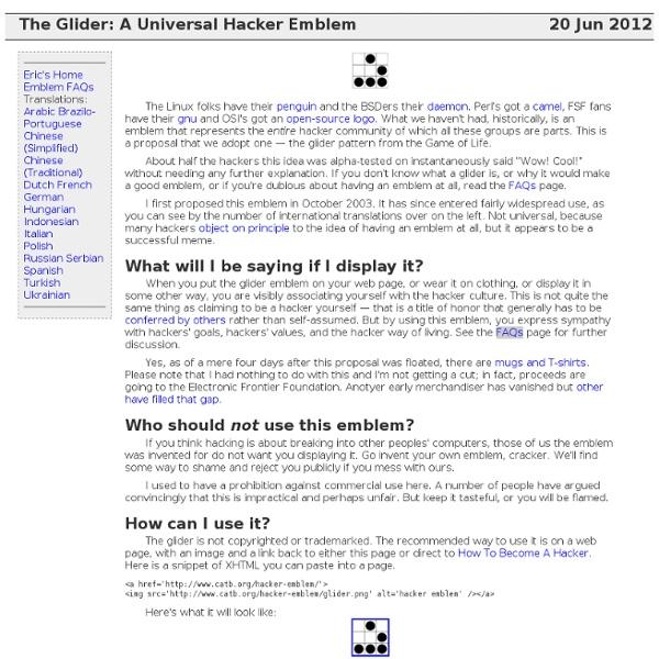 The glider: an Appropriate Hacker Emblem