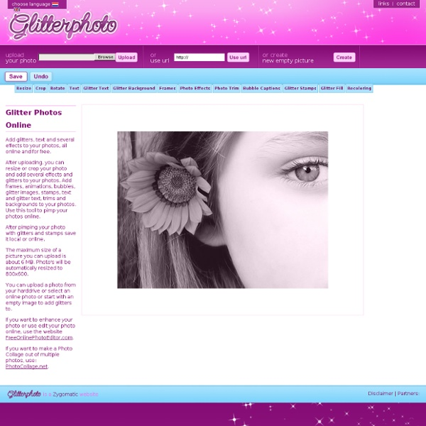 Glitter Photo: Pimp your photo online and add glitters, text, stamps, bubbles, frames and effects