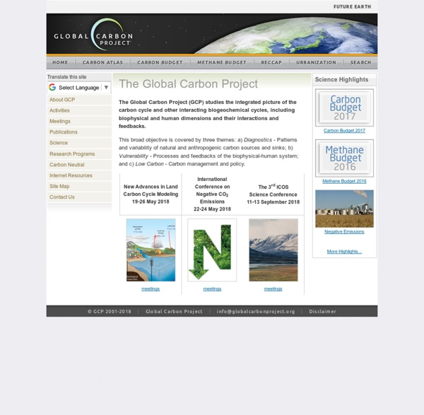 GCP : Global Carbon Project : Homepage