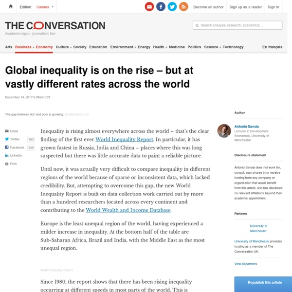 Global inequality is on the rise – but at vastly different rates across the world
