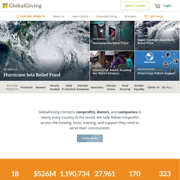 GlobalGiving: donate to projects around the world supporting disaster relief, education, health, women and children, and more
