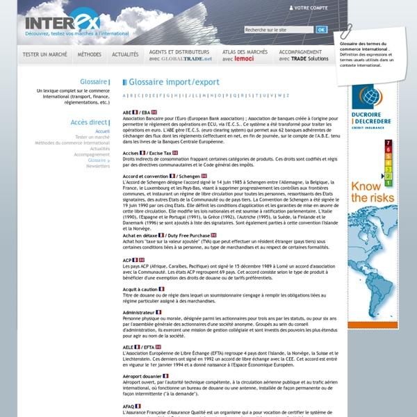 Glossaire import-export, lexique des termes du commerce international