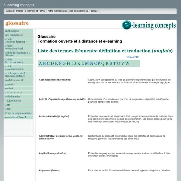 Glossaire: termes de la Foad et du e-learning