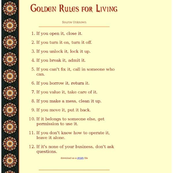 Golden Rules for Living
