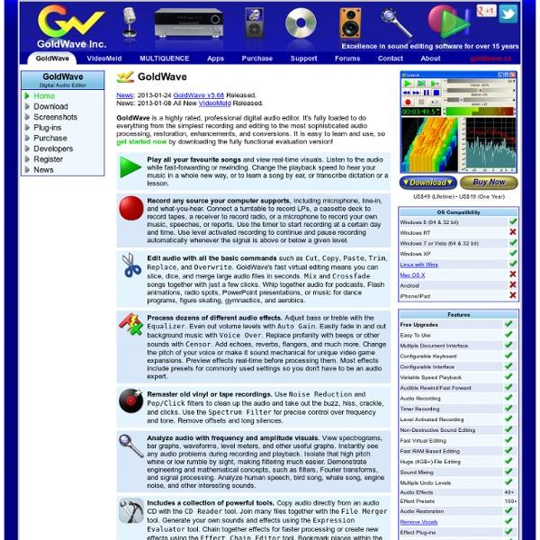 GoldWave - Audio Editor, Recorder, Converter, Restoration, & Analysis Software