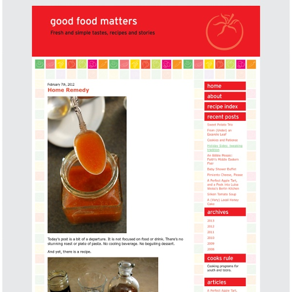 Good Food Matters » Blog Archive » Home Remedy