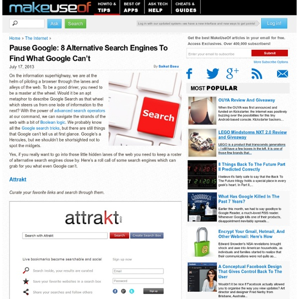 Pause Google: 8 Alternative Search Engines To Find What Google Can't