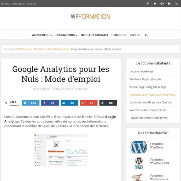 Google Analytics pour les Nuls : Mode d'emploi