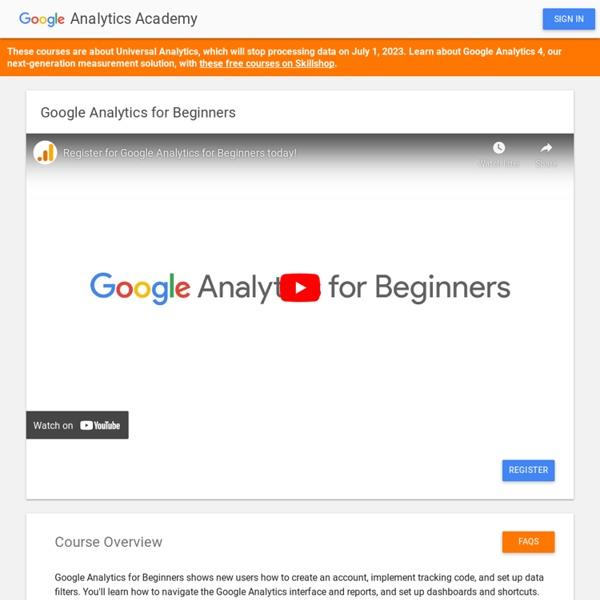 GoogleAnalytics pour les débutants