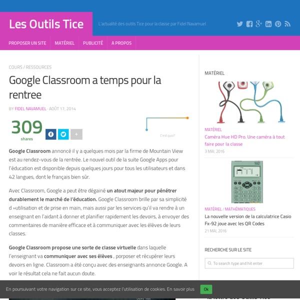 Google Classroom a temps pour la rentree
