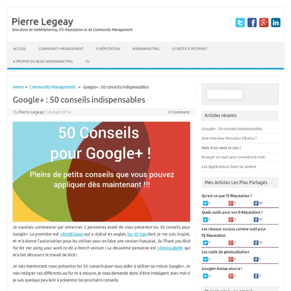 Google+ : 50 conseils indispensables