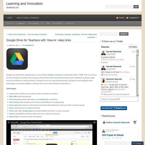 Google Drive for Teachers with 'How-to' video links
