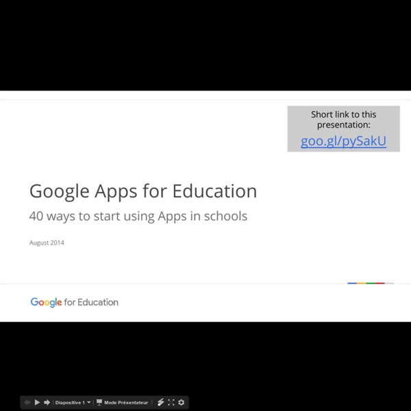 40 Ways to Use Google Apps for Education- August 2014 - Google Slides