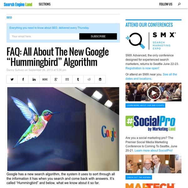"FAQ: All About The New Google ""Hummingbird"" Algorithm"