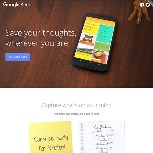 Meet Google Keep – Save your thoughts, wherever you are – Keep – Google