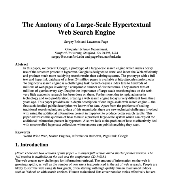 Anatomy of Large-Scale HypertextualWeb Search Engine