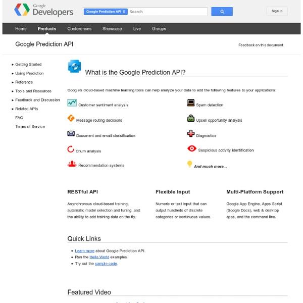 Prediction API - Google Code