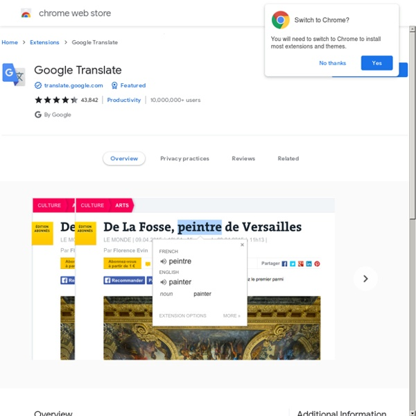 Translate - Galerie des extensions GoogleChrome