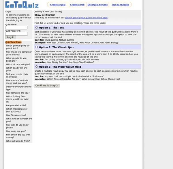 GoToQuiz.com, Create A Quiz