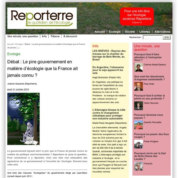 Les 37 agressions du gouvernement de M. Ayrault contre l'écologie