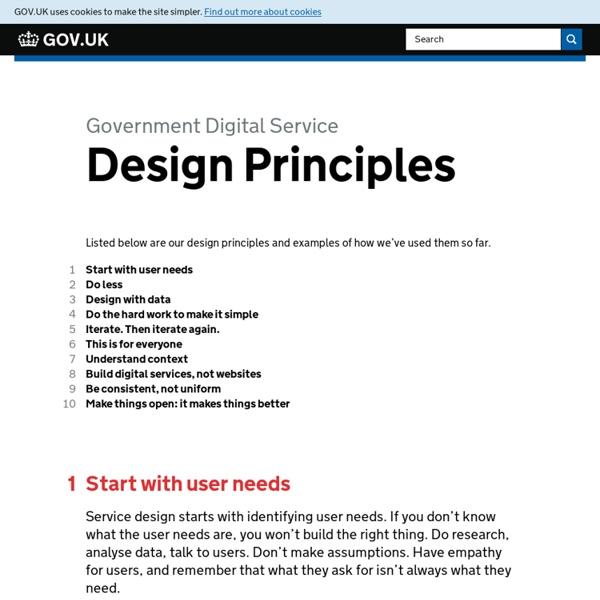 GOV.UK – GDS design principles