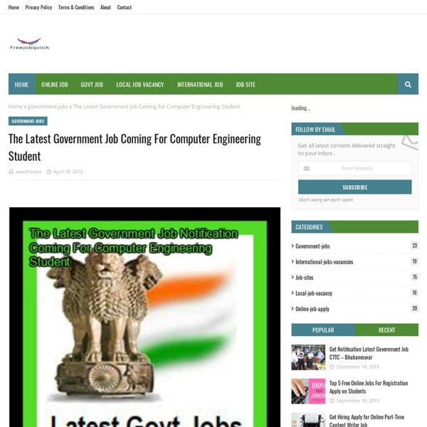 The Latest Government Job Coming For Computer Engineering Student