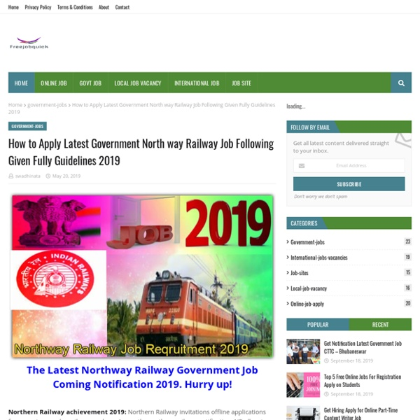 How to Apply Latest Government North way Railway Job Following Given Fully Guidelines 2019